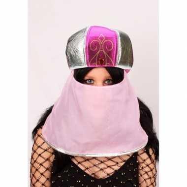 Arabische muts roze sluier dames