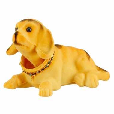 Bewegende knikkende beige hond auto