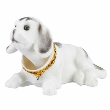 Bewegende knikkende witte hond auto