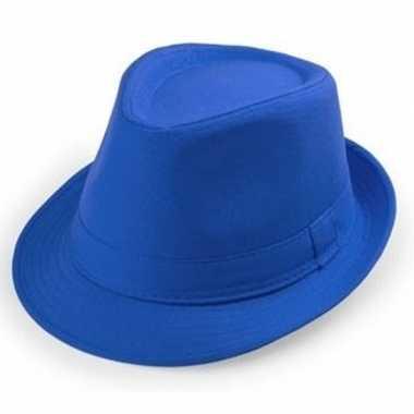 Blauw trilby verkleed hoedje volwassenen