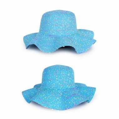 Blauwe dames strand/hippie hoed