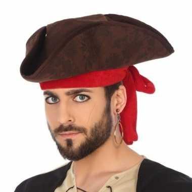Bruine piraten driesteek verkleed hoed volwassenen