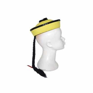 Chinese hoed geel vlecht