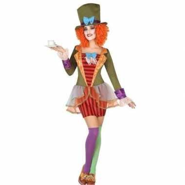 Clown hoge hoed verkleed set dames