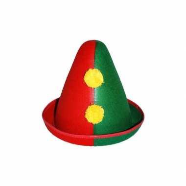 Clowns hoedje rood/groen
