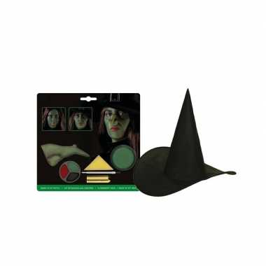Compleet kinder heksen pakket schmink hoed