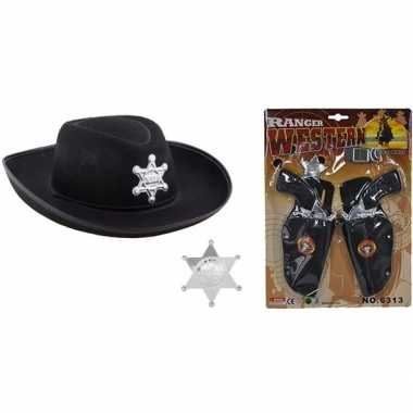 Cowboy accessoire set zwart kinderen