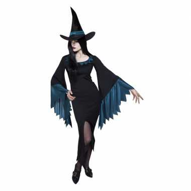 Dames heksen kostuum zwart blauw
