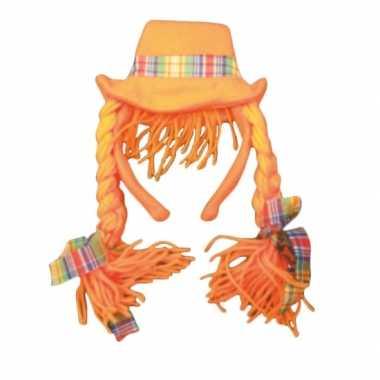 Diadeem oranje hoed vlechten