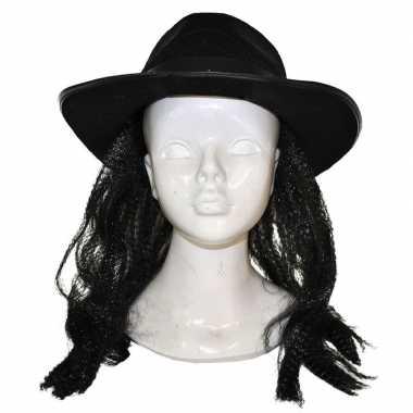 Donkere pruik hoed