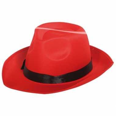 Fedora hoed rood zwarte band