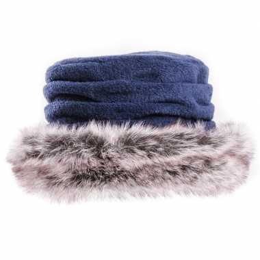 Fleece muts/hoed nepbont blauw dames