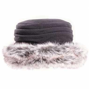 Fleece muts/hoed nepbont zwart dames