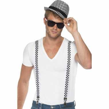 Geblokte bretels hoed