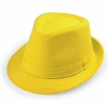 Geel trilby verkleed hoedje volwassenen