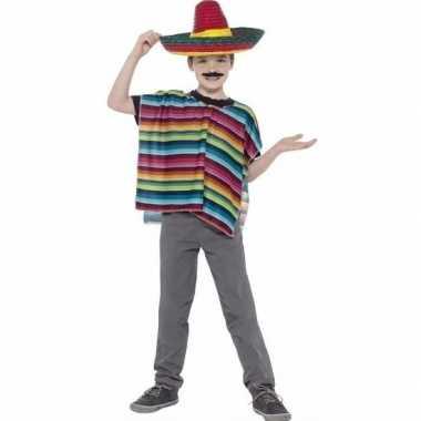 Gekleurde poncho sombrero kinderen