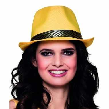 Gele trilby hoed volwassenen
