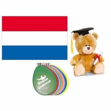 Geslaagd pakket vlag teddybeer ballonnen