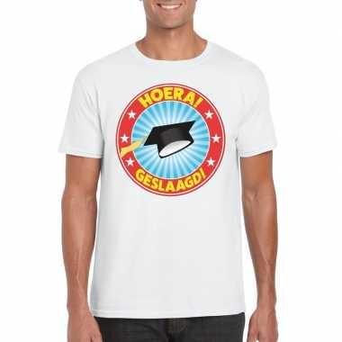 Geslaagd t-shirt afstudeerhoedje wit heren