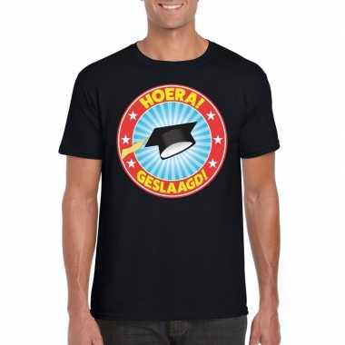 Geslaagd t-shirt afstudeerhoedje zwart heren