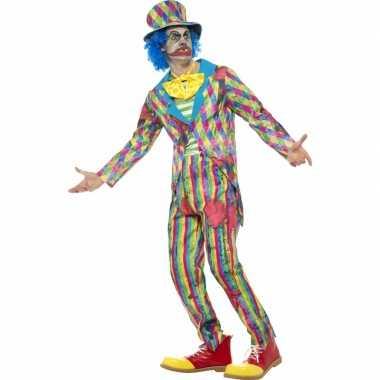 Gestreept horror clowns kostuum mannen