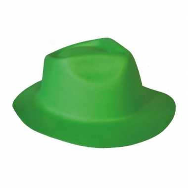 Groene trilby hoed foam verkleedaccessoire volwassenen
