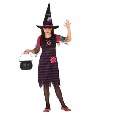 Halloween halloween heksen kostuum paars/zwart meisjes