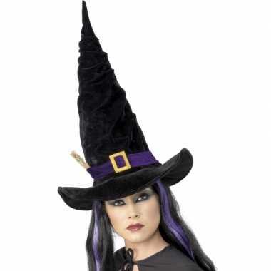 Halloween Heksen hoed zwart paars