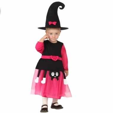 Halloween heksen kostuum zwart roze peuters