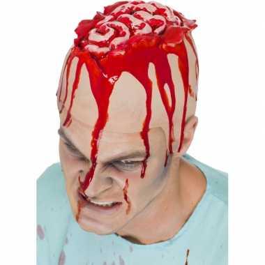 Halloween Latex hoofdkap openliggende hersenpan
