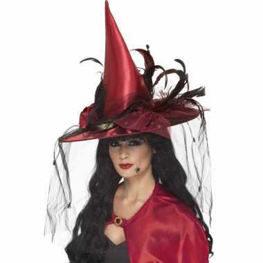 Halloween Rode heksen hoed veren