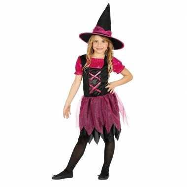 Halloween zwart/roze heksen kostuum meisjes
