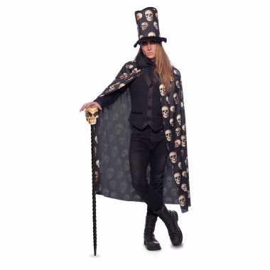 Halloween zwarte cape hoge hoed volwassenen