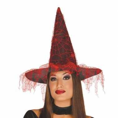 Halloween zwarte heksenhoed rood spinnenweb