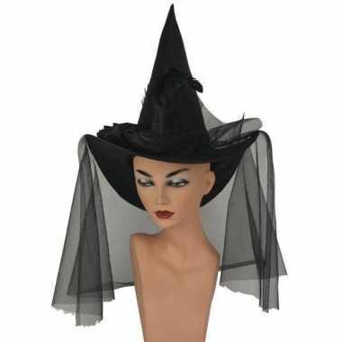 Halloween Zwarte hoge heksenhoed sluier