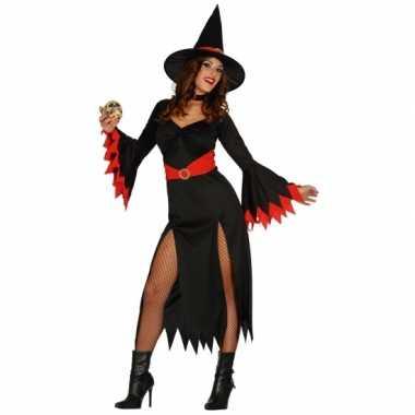 Halloween Zwarte lange heksen jurk rode details