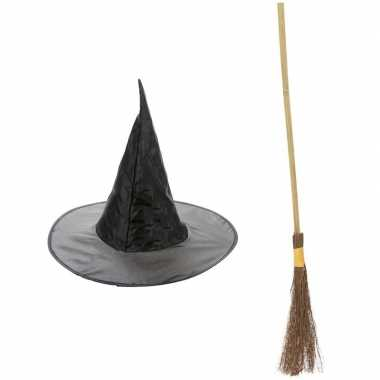 Heksen accessoires set hoed bezem meisjes