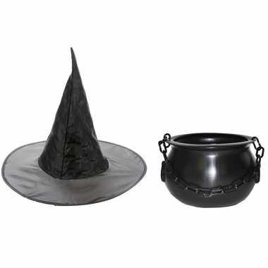 Heksen accessoires set hoed ketel meisjes