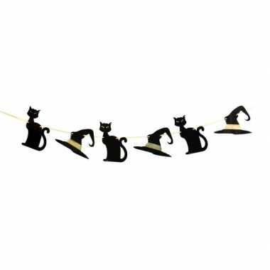 Heksen zwarte kat thema slinger meter