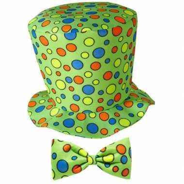 Hoge fun hoed groen strik