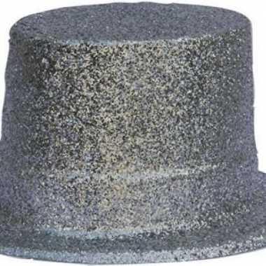 Hoge hoed zilveren glitters