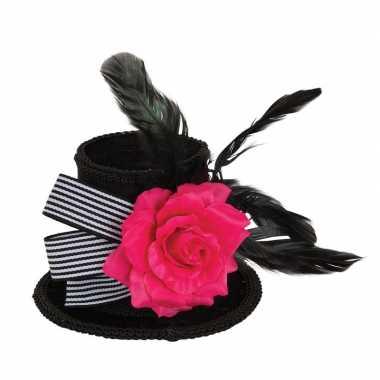 Hoge zwarte mini hoedje roos veren clip dames