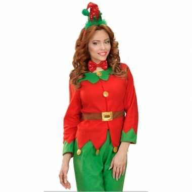 Kerst diadeem mini elfen mutsje strik