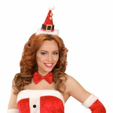 Kerst diadeem mini kerst hoedje strik
