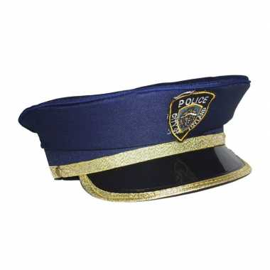 Kinder politiepet blauw goud