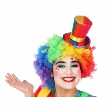 Mini hoge clownshoed verkleed accessoire volwassenen