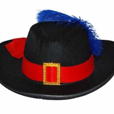 Musketier hoed rode band blauwe veer