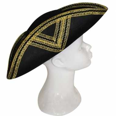 Musketiers hoed zwart goud