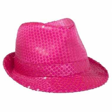 Neon roze trilby hoed pailletten