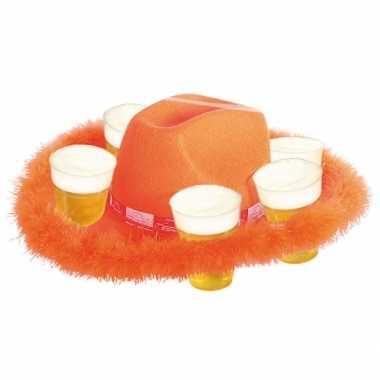 Oranje bier hoed bont